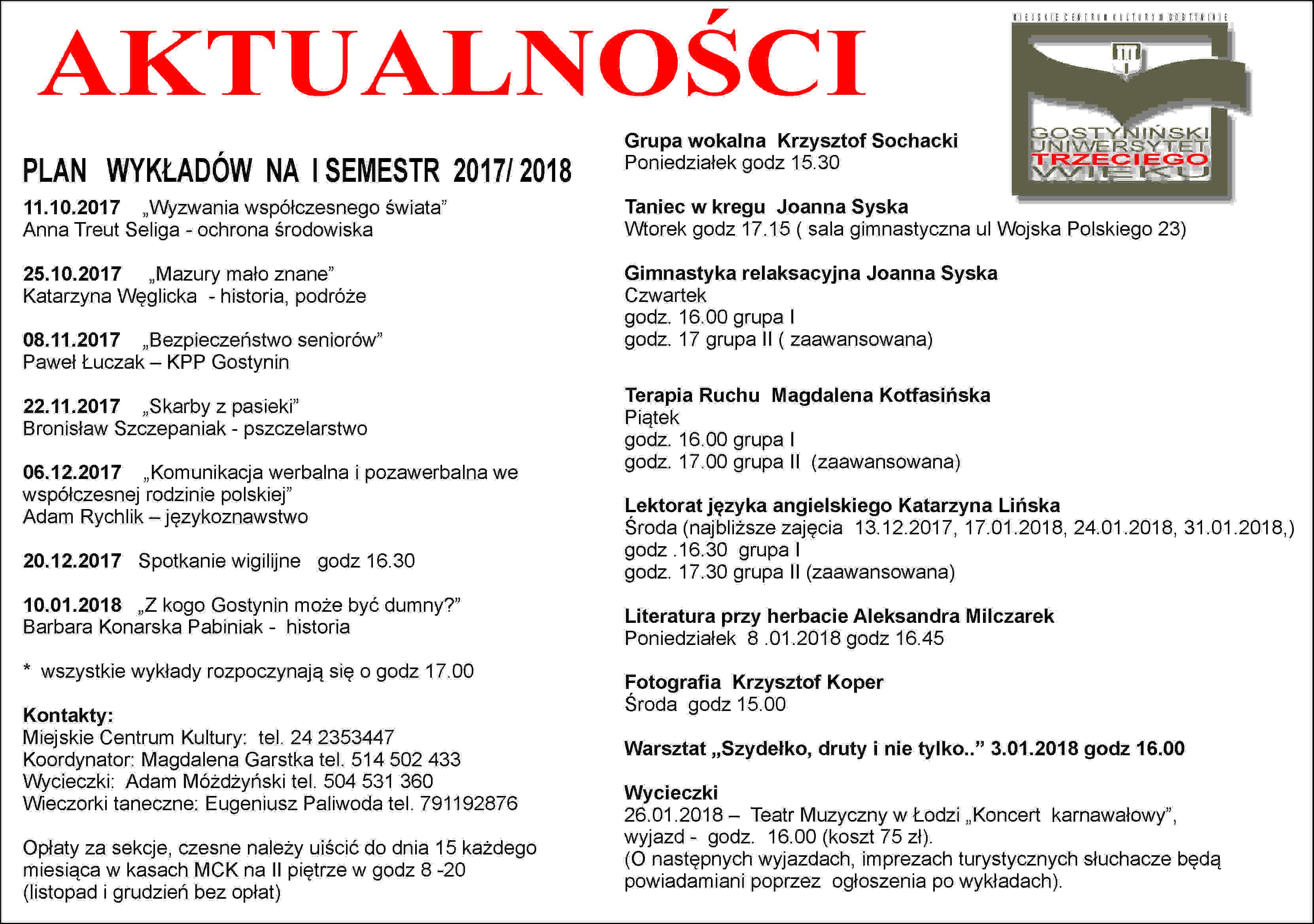 Plan wykładów na I semestr 2017/2018