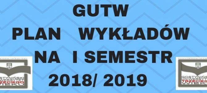 PLAN   WYKŁADÓW  NA  I SEMESTR  2018/ 2019