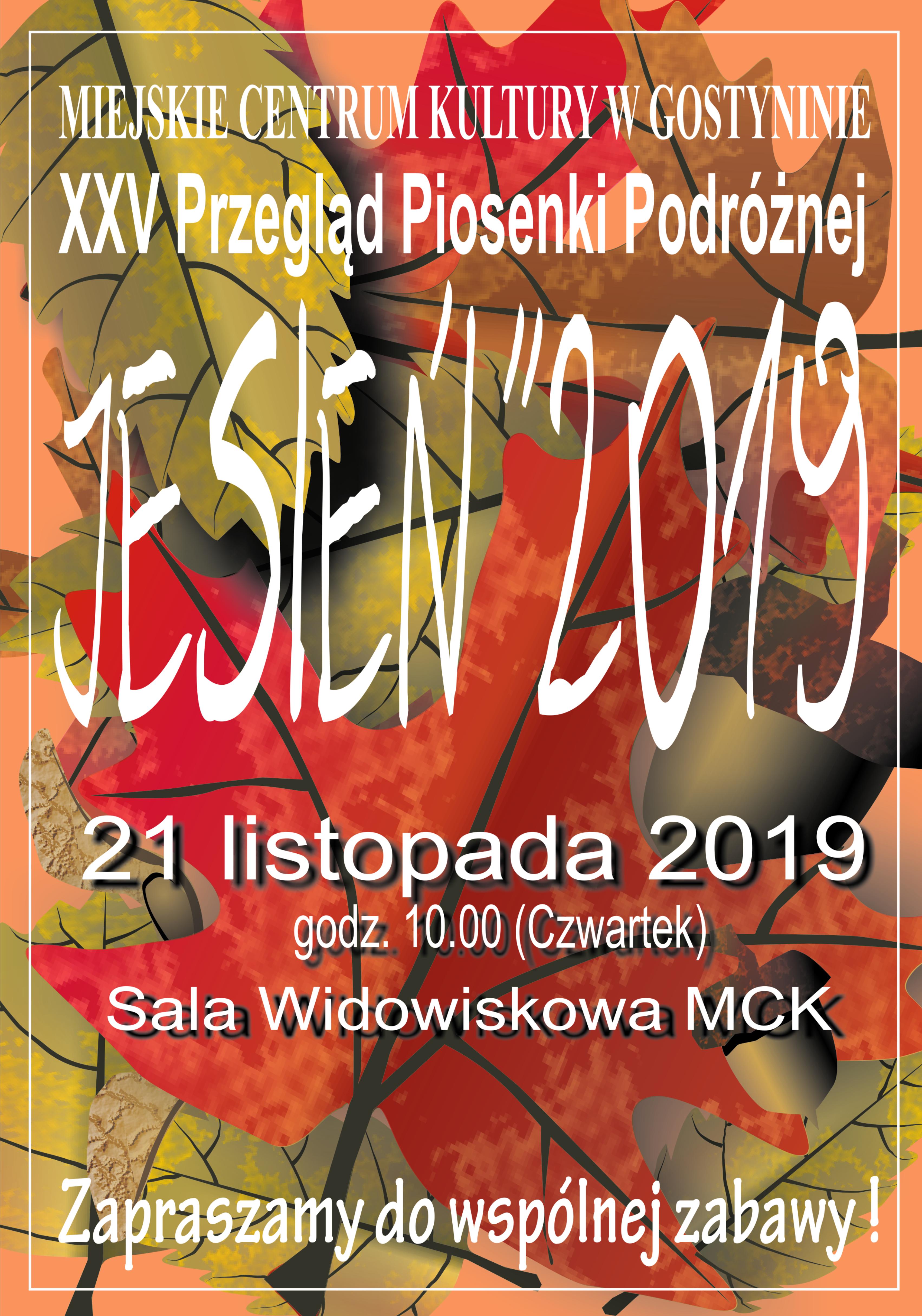 """XXV Przegląd Piosenki Podróżnej """"JESIEŃ 2019"""""""