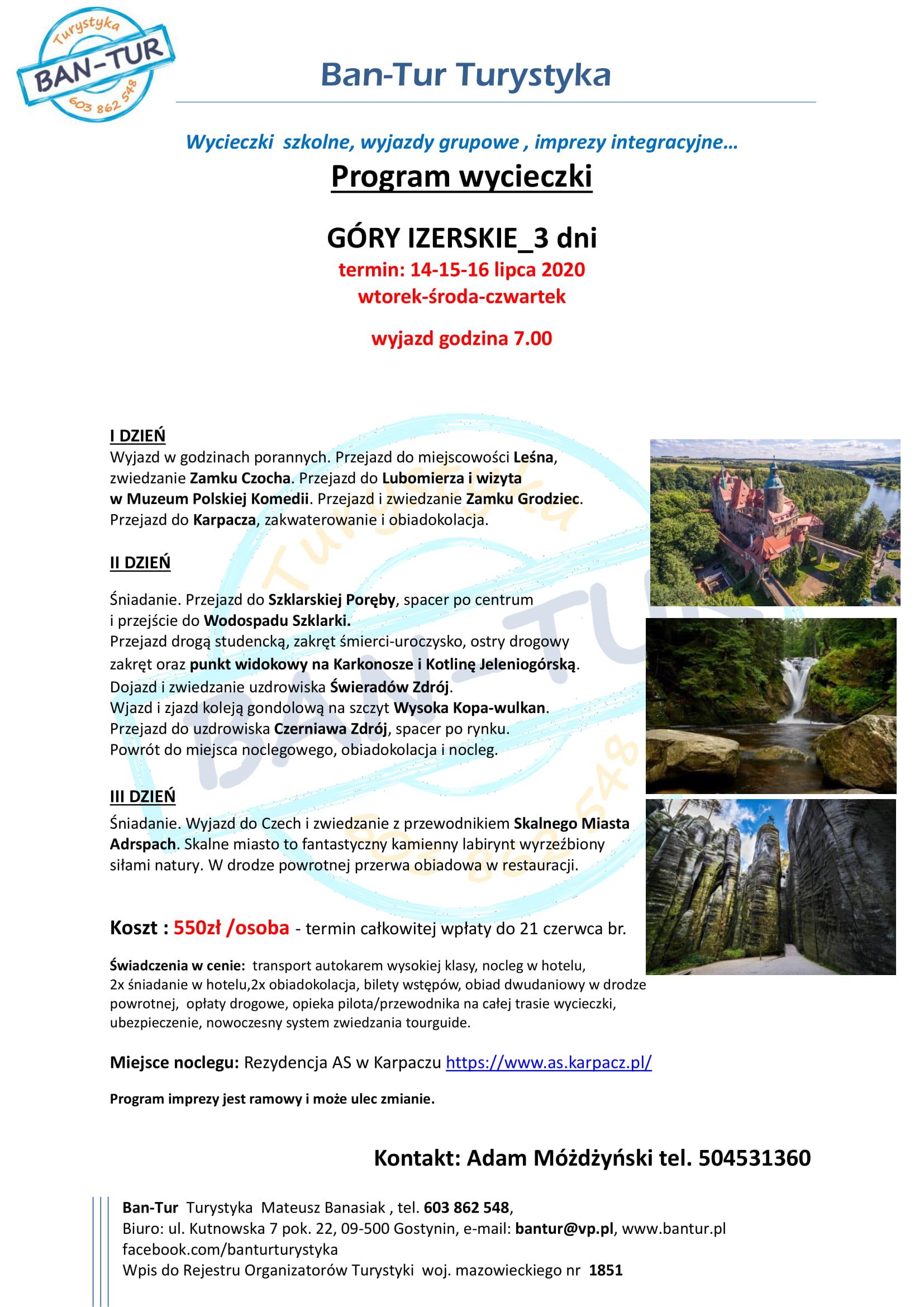Program wycieczki Góry Izerskie