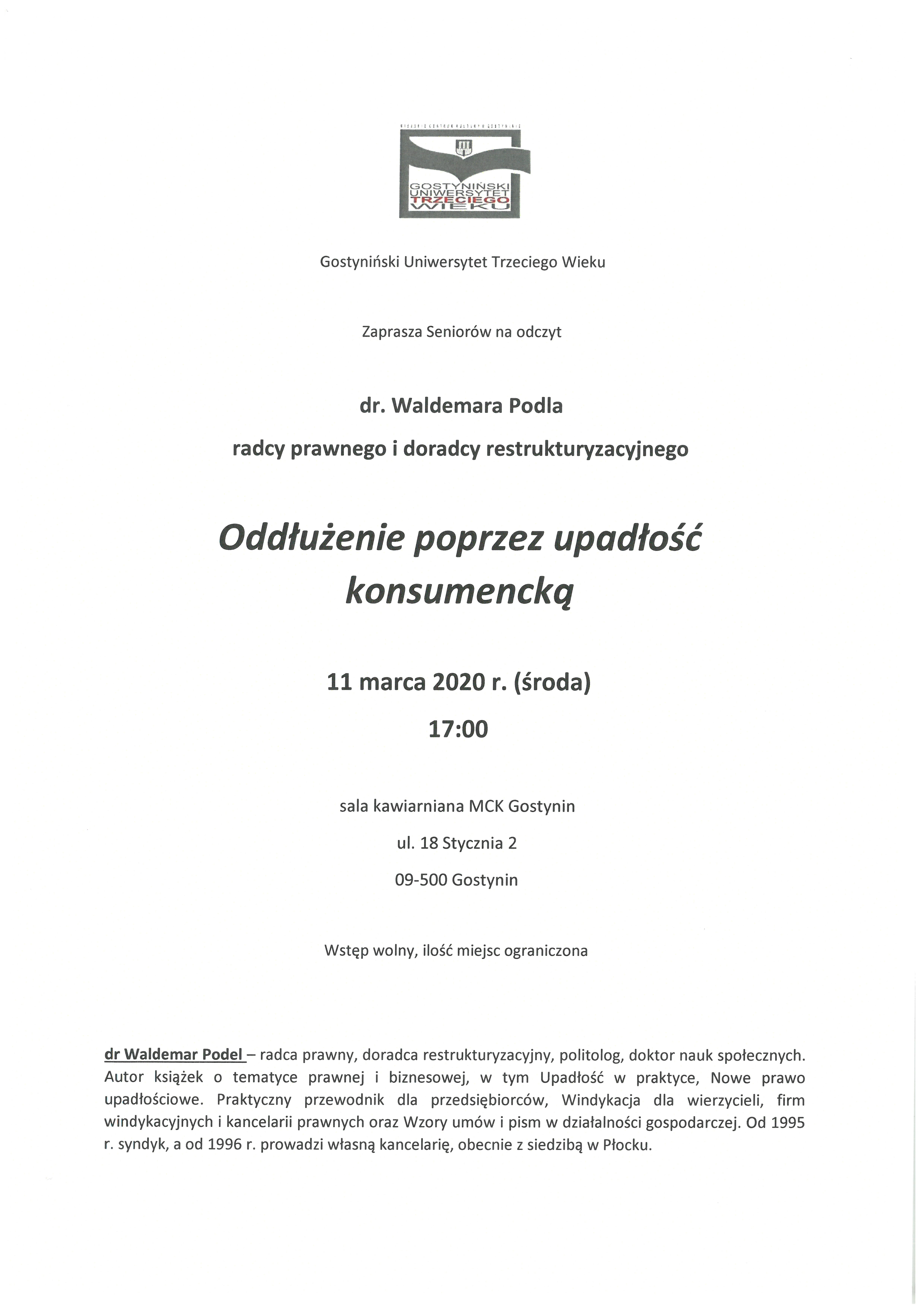 """Odczyt dr. Waldemara Podla """"Oddłużenie poprzez upadłość konsumencką"""" – odwołany"""