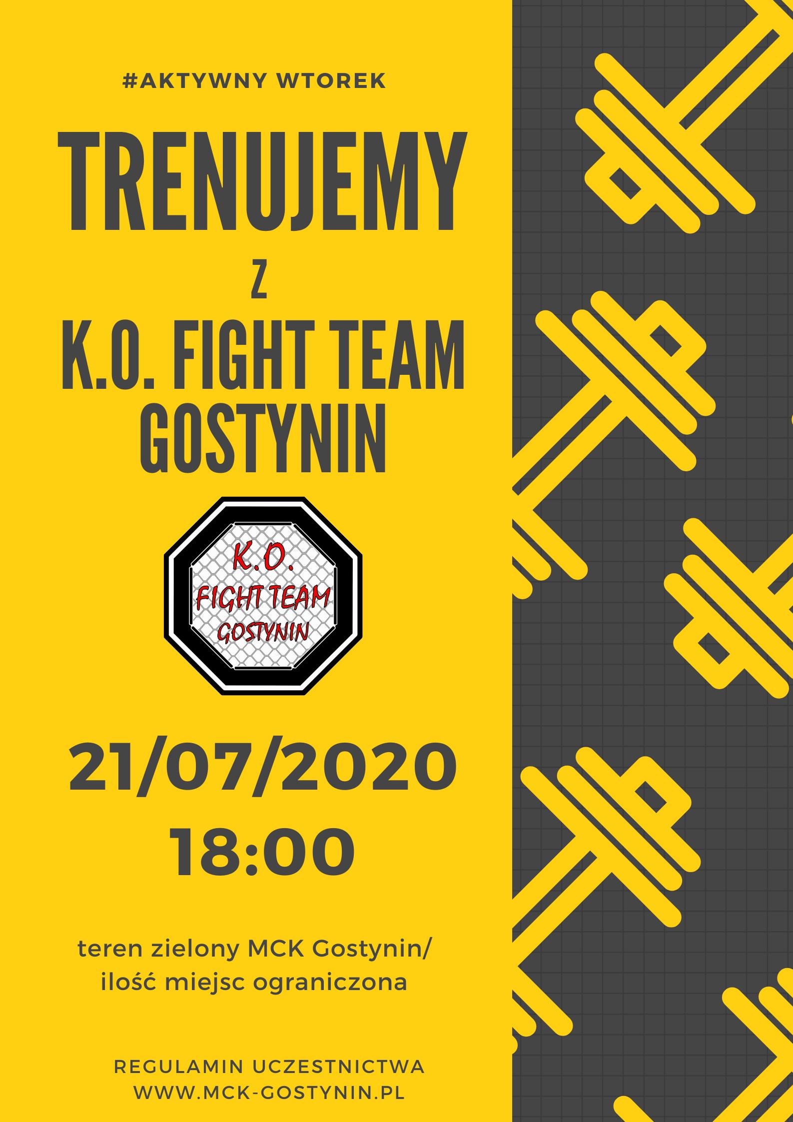 21/07 | Trenujemy z K.O. Fight Team Gostynin – AKTYWNY WTOREK